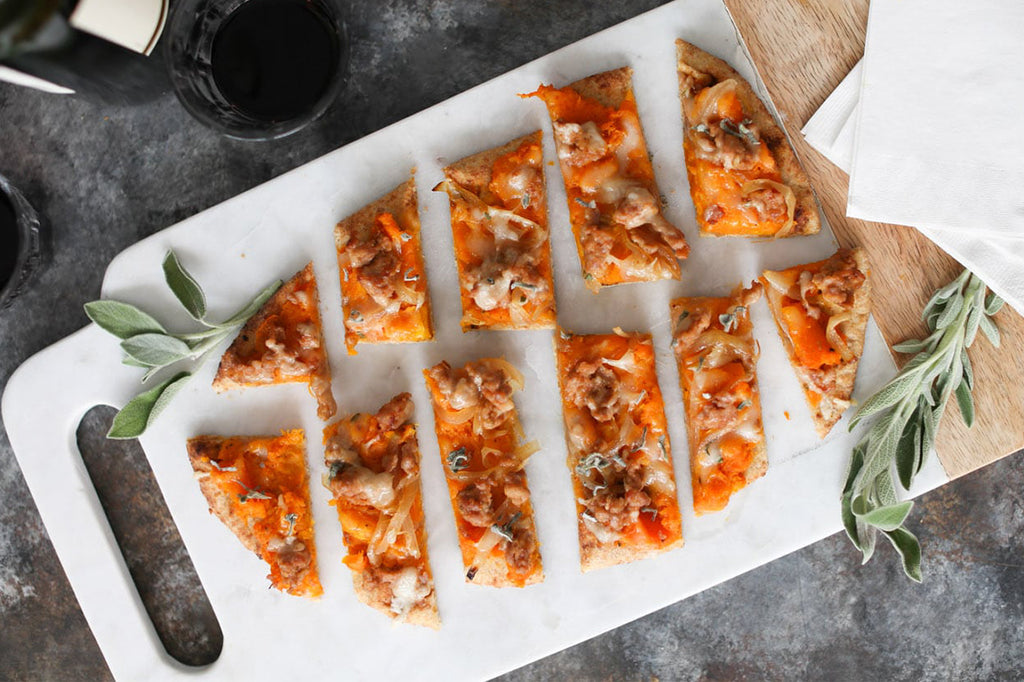 Butternut Squash Flatbread with Sausage and Carmelized Onions