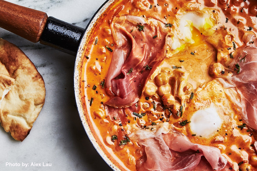 One Pot Brunch Dish (Canned Chickpeas, Tomato Paste, and Prosciutto, with Baked Eggs)