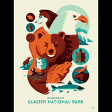 ICONIC WILDLIFE OF GLACIER screenprint