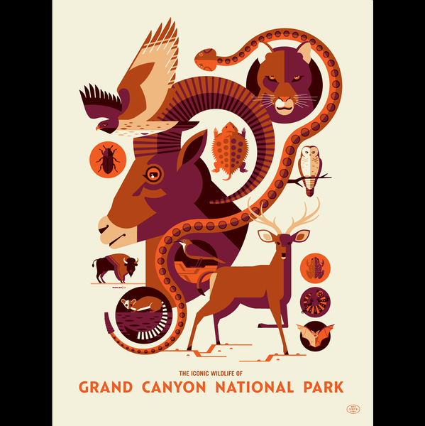 ICONIC WILDLIFE OF GRAND CANYON screenprint