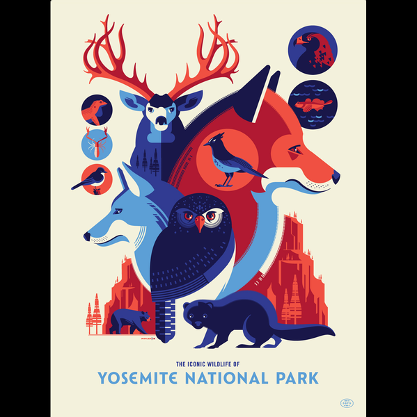 ICONIC WILDLIFE OF YOSEMITE screenprint