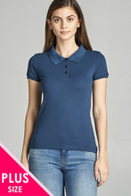 Load image into Gallery viewer, Ladies fashion plus size classic pique polo top