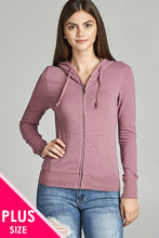 Load image into Gallery viewer, Ladies fashion plus size full zip-up closure hoodie w/long sleeves and lined drawstring hood