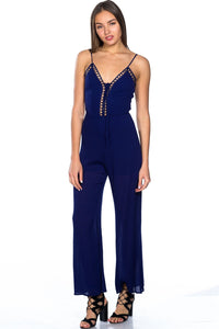 Ladies fashion lattice plunge cage jumpsuit