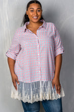 Load image into Gallery viewer, Ladies fashion plus size gingham lace-hem plus size top