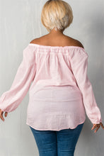 Load image into Gallery viewer, Ladies fashion plus size boho contemporary elastic off the shoulder top