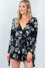 Load image into Gallery viewer, Ladies fashion plunging v-neckline tie long sleeve waist tie floral romper