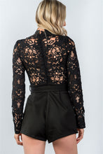 Load image into Gallery viewer, Ladies fashion high neck long sleeves floral embroidered crochet belted romper