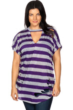 Load image into Gallery viewer, Ladies fashion plus size round neckline striped and destroyed cutout tee