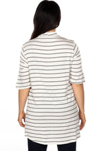 Load image into Gallery viewer, Ladies fashion plus size mock neck choker keyhole stripe asymmetric top