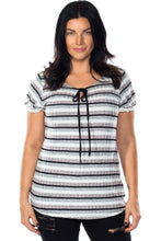 Load image into Gallery viewer, Ladies fashion plus size lace stripe knit top
