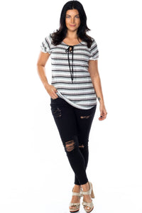 Ladies fashion plus size lace stripe knit top