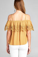 Load image into Gallery viewer, Ladies fashion open shoulder flounce w/crochet lace crinkle gauze woven top