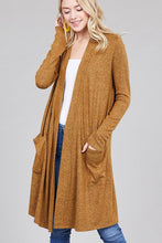Load image into Gallery viewer, Ladies fashion long sleeve open front w/pocket brushed hacci cardigan