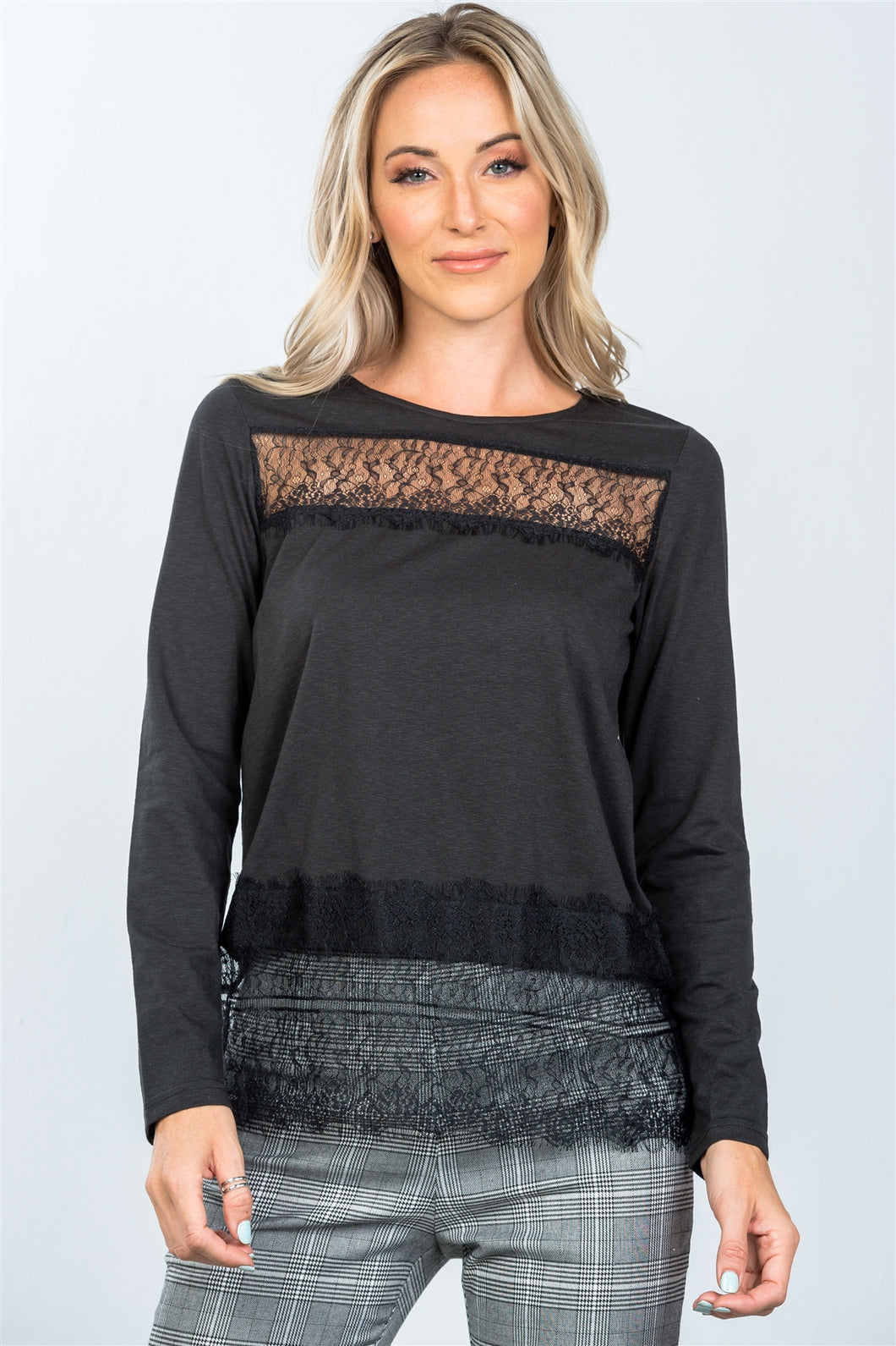 Boho lace-panel and hem top