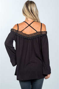 Boho cold shoulder crochet back-cross top