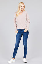Load image into Gallery viewer, Ladies fashion long dolmen sleeve v-neck brushed waffle knit top