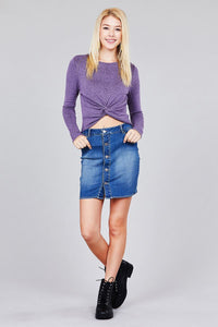 Ladies fashion button down stretch denim mini skirt