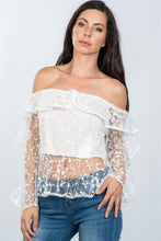 Load image into Gallery viewer, Ladies fashion sheer floral textured off the shoulder top