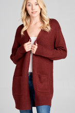 Load image into Gallery viewer, Ladies fashion long sleeve open front w/pocket tunic sweater cardigan