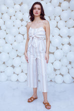 Load image into Gallery viewer, Cream Knotted Striped Jumpsuit