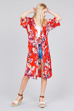 Load image into Gallery viewer, 3/4 Dolman Sleeve Front Tie Side Slit Print Long Kimono