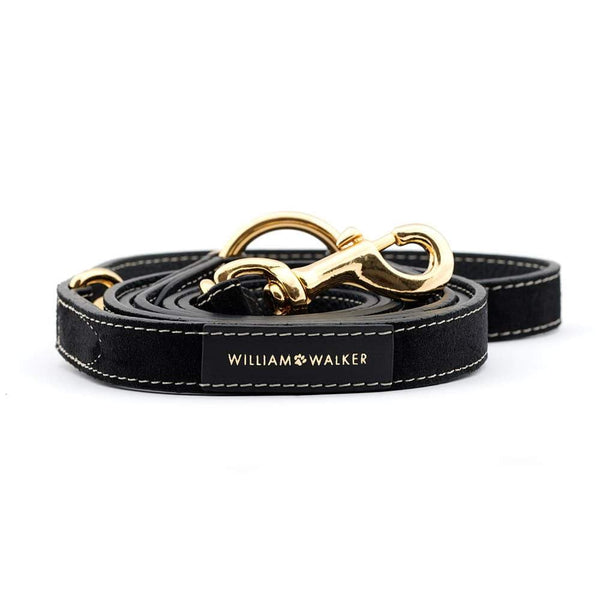 William Walker Leder Hundeleine Royal Black ohne Kotbeutelspender