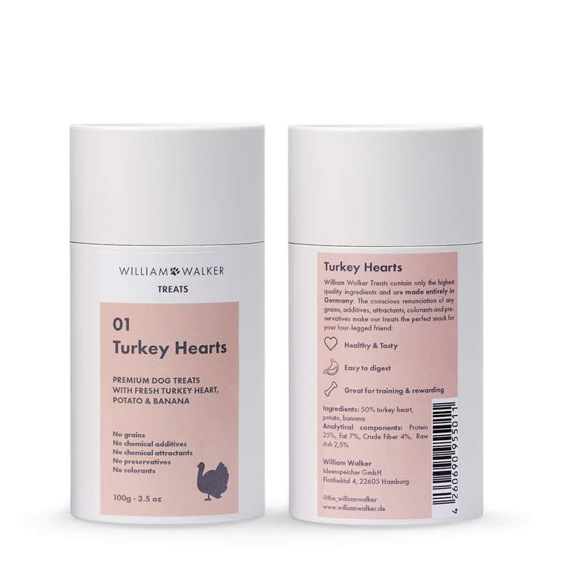 William Walker Premium Hundekeks Turkey Hearts 3er Pack