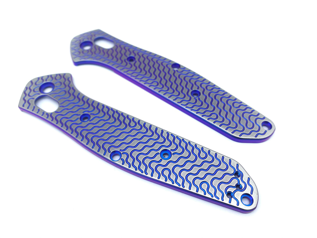 Titanium Critter Scales for Benchmade Osborne 940 Series - Blue/Purple Anodize