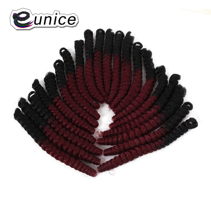Spring Twist Hair Extension Produced By Eunice Crochet Hair Braiding With Kanekalon Pre-curled Textured Synthetic Hair American