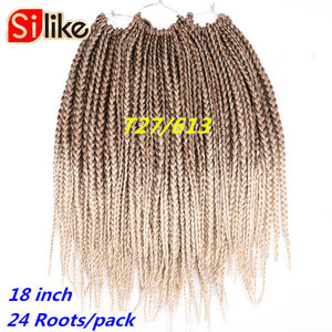 Ombre Synthtic Black Green 18 Inch Micro Crochet BOX Braids Hair Extension 24 Roots hair Braiding for Black Women by Silike