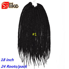 Load image into Gallery viewer, Ombre Synthtic Black Green 18 Inch Micro Crochet BOX Braids Hair Extension 24 Roots hair Braiding for Black Women by Silike