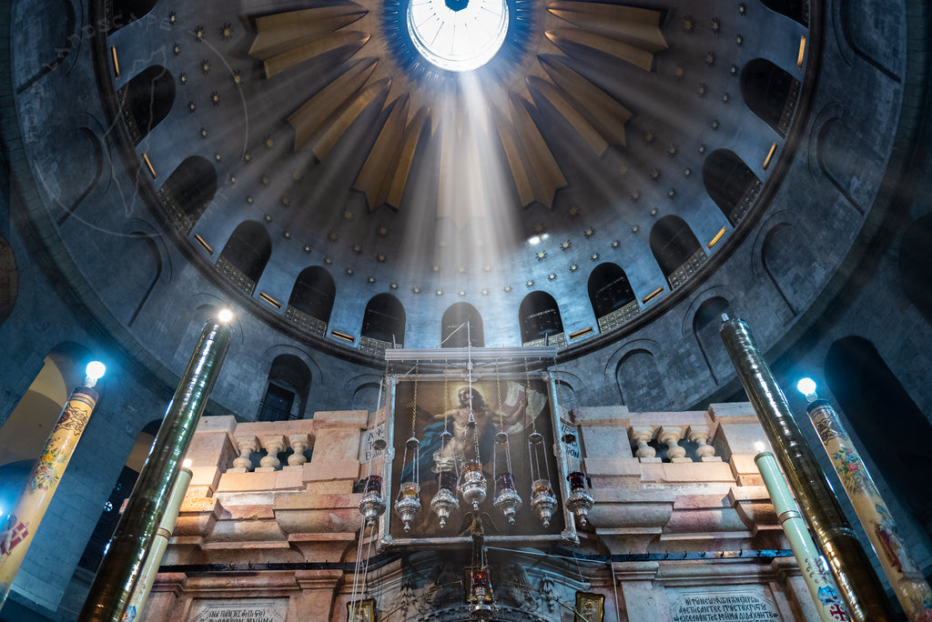 Church of the holy sepulchre inside light Israel Art Prints