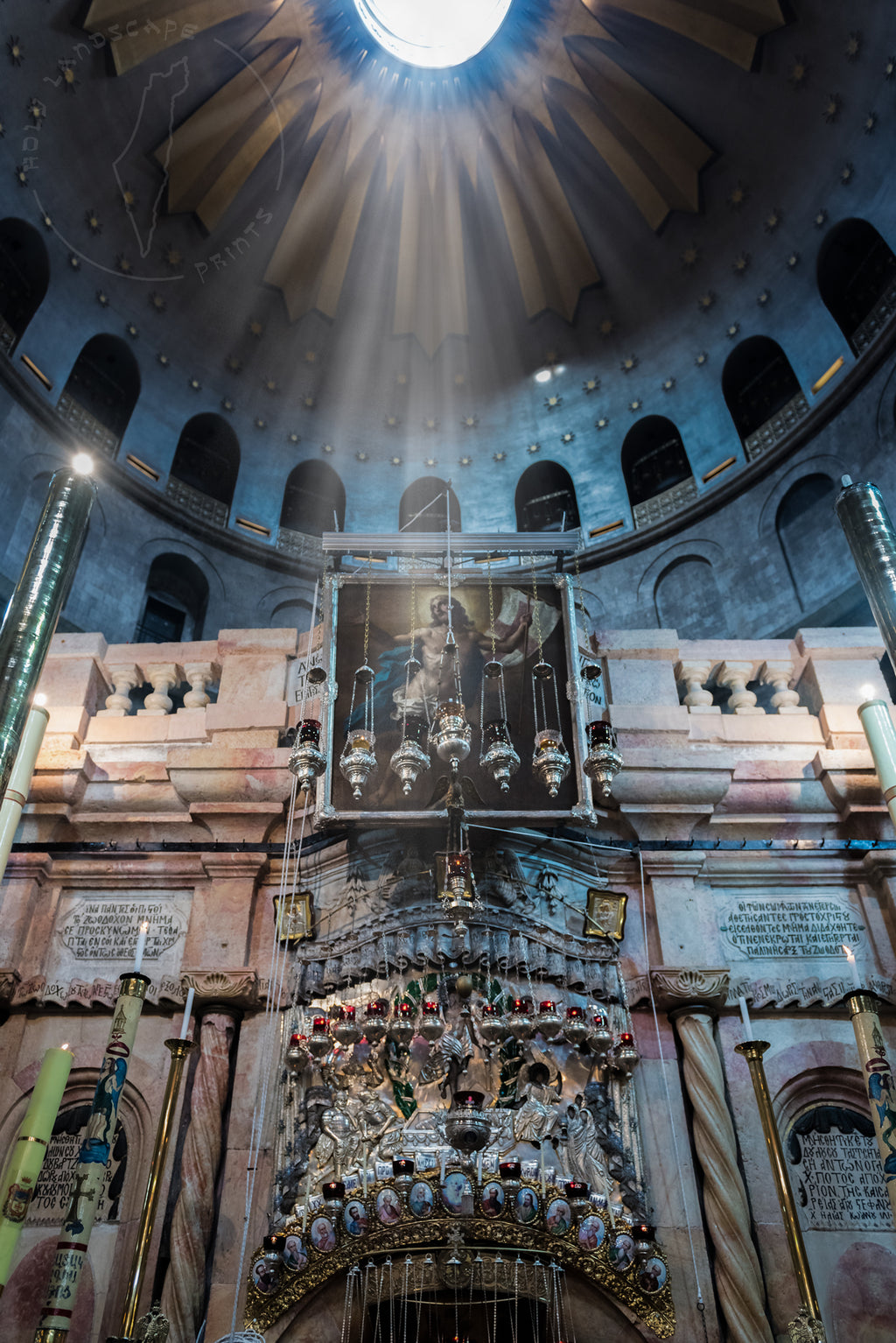 Church of the Holy Sepulchre miracle Israel Art Prints