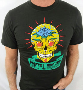 The Grateful Brothers black skull t-shirt on model organic band merch made in america blue rose music