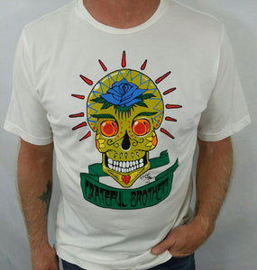 The Grateful Brothers white skull t-shirt on model designed by stanley mouse 100% organic made in america blue rose music