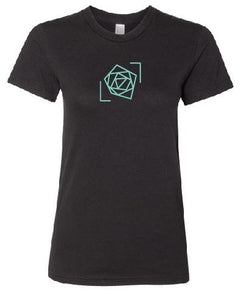 blue rose foundation black shirt women's tee blue logo blue rose music