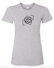 blue rose foundation gray shirt women's tee black logo blue rose music