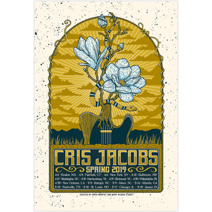 cris jacobs color where you are tour poster merch blue rose music painted roads buffalo girl 2019