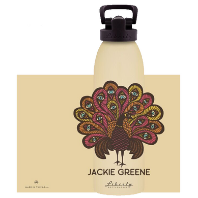 Jackie Greene modern lives water bottle almond color with peacock illustration made in america blue rose music