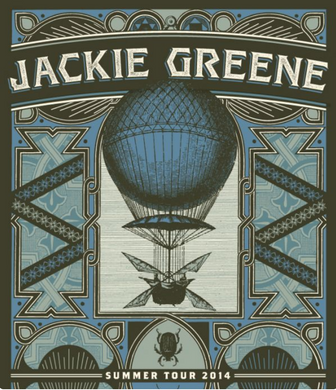 Jackie Greene summer 2014 tour poster merch hot air balloon retro blue rose music