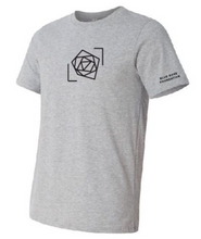 blue rose foundation gray shirt men's unisex tee black logo blue rose music