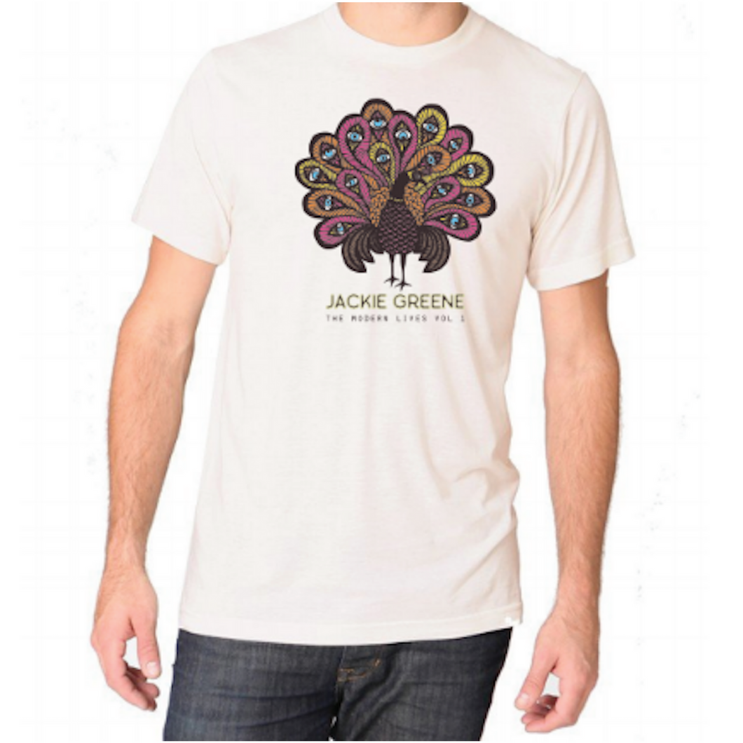 Jackie Greene modern lives peacock cream t-shirt designed by artist angie pickman organic band merch made in america blue rose music