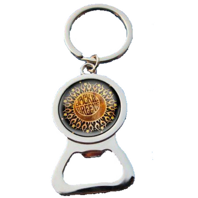 Jackie Greene bottle opener keychain featuring sun and moon graphic.