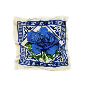 Cream blue bandana featuring a blue rose graphic. 100% Organic, 100% American Made.