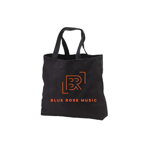 black tote bag large blue rose music logo orange organic american made merch