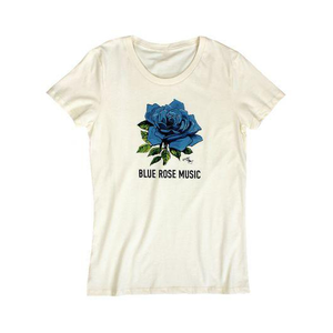 blue rose music women's logo t-shirt artwork by stanley mouse organic made in america