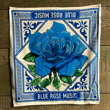 blue rose music cream bandana scarf on wood background made in america merch