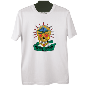The Grateful Brothers white skull t-shirt designed by stanley mouse 100% organic made in america blue rose music