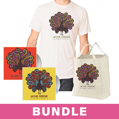 Jackie Greene The Modern Lives Vol. 2 CD Vol. 1 CD album EP merch bundle canvas tote bag tshirt peacock blue rose music album cover full image